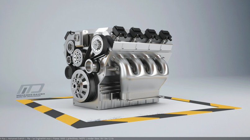 Car engine 8 cylinders 3d modeling