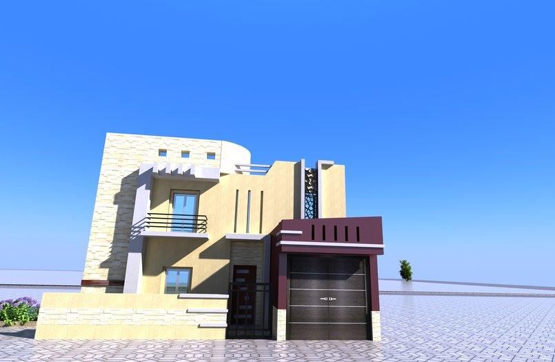 تصميم واجهة معاصرة لمسكن صغير