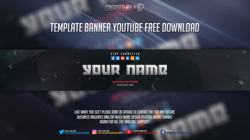 2d youtube banner template free download by houssem designer