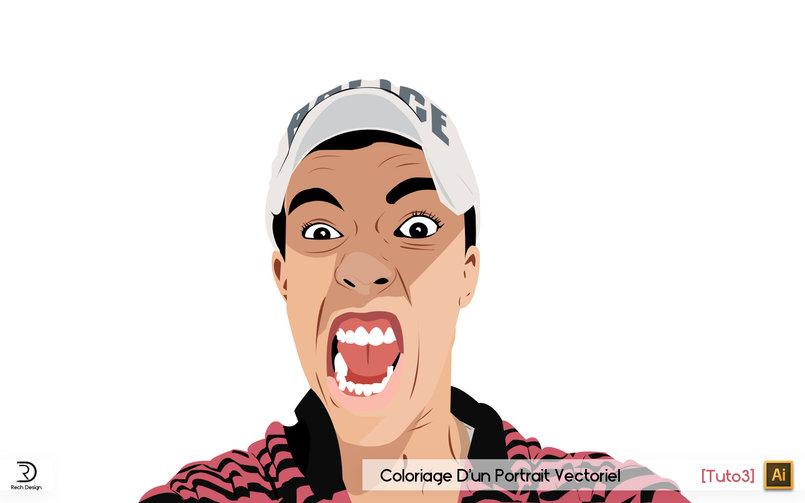Coloriage D'un Portrait Vectoriel