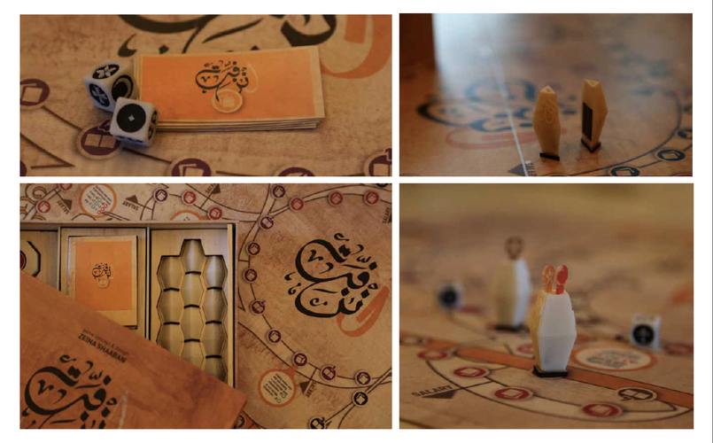 Photography of the game cards, dice, pawns and board.
