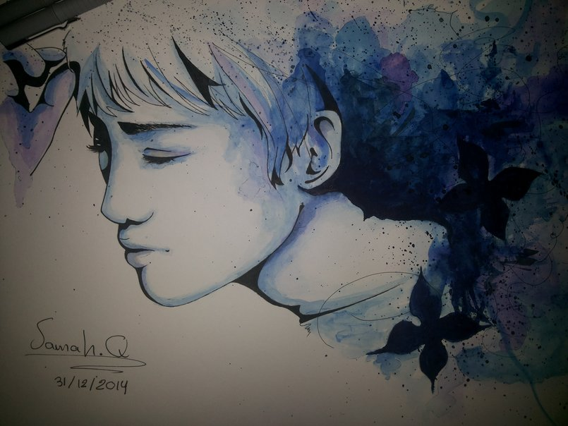 Blue psycho_traditional _Watercolor _fanart