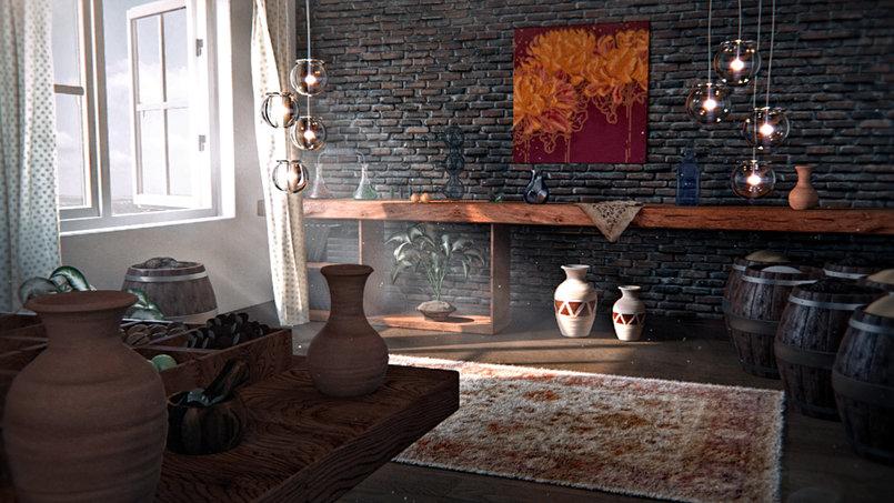 Interior scene with allusive an Islamic