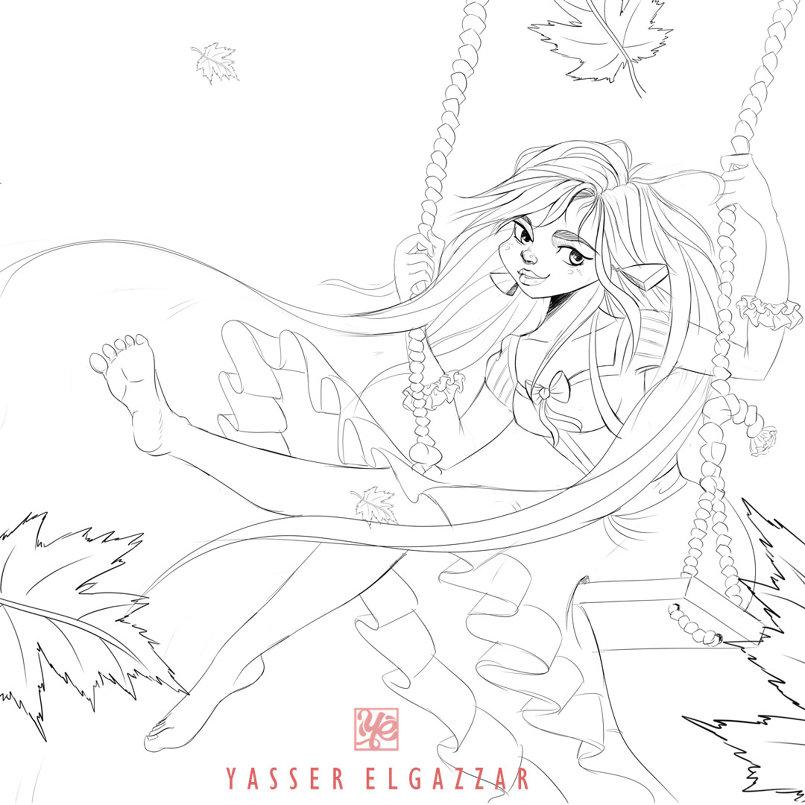 Girl Swinging - Digital Painting