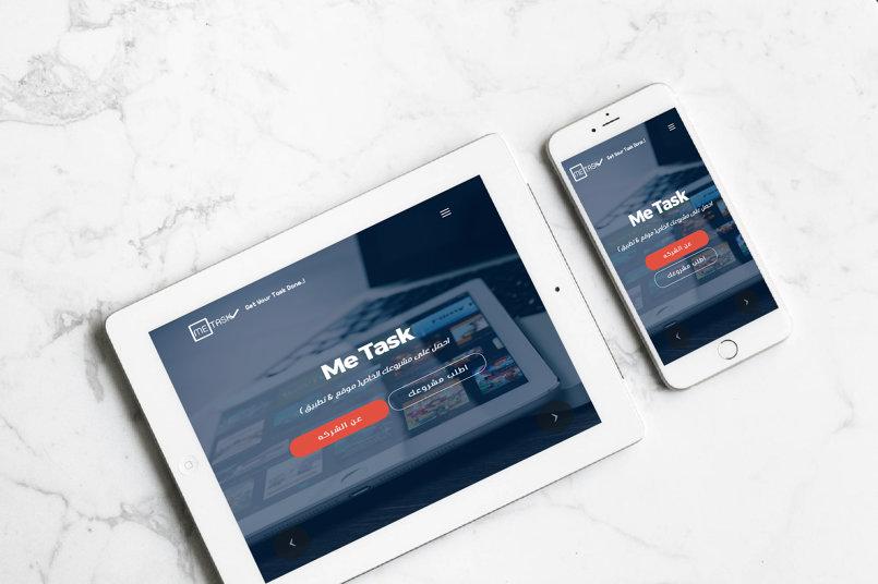 redesign اعادة تصميم موقع شركه Me Task لخدمات التصميم و البرمجه متوافق