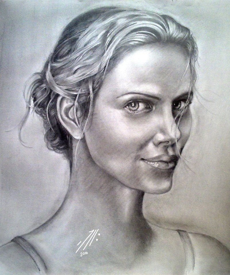Charlize_Theron...  this is one of the first classic attempts for drawing the fascinating and overwhelming actress Charlize Theron.. it took alotta time for me to finish it using regular graphic pencils 3H>8B .. hope you like it :)