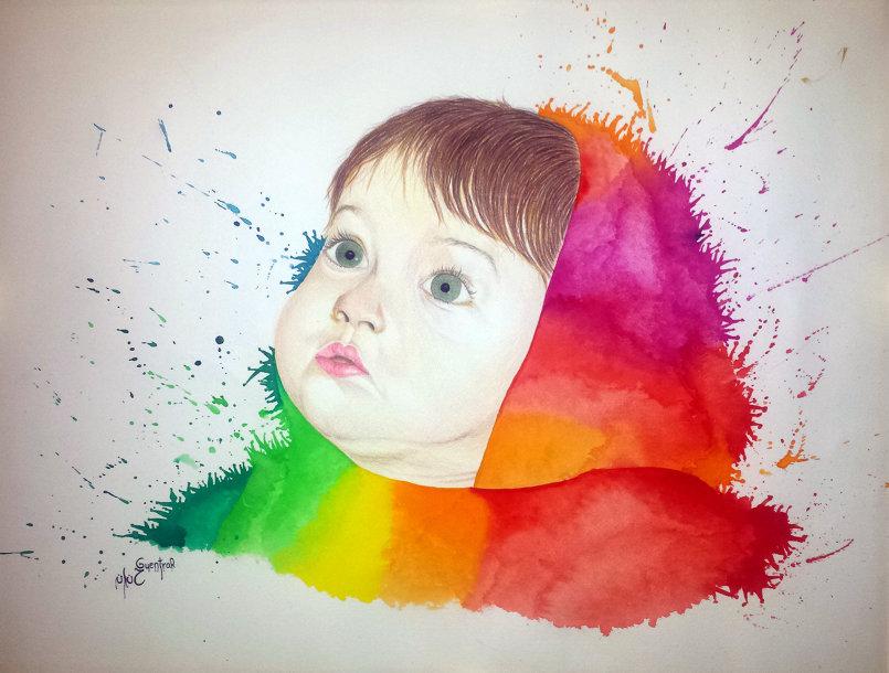 بورتري بالأقلام الملونة و الألوان المائية