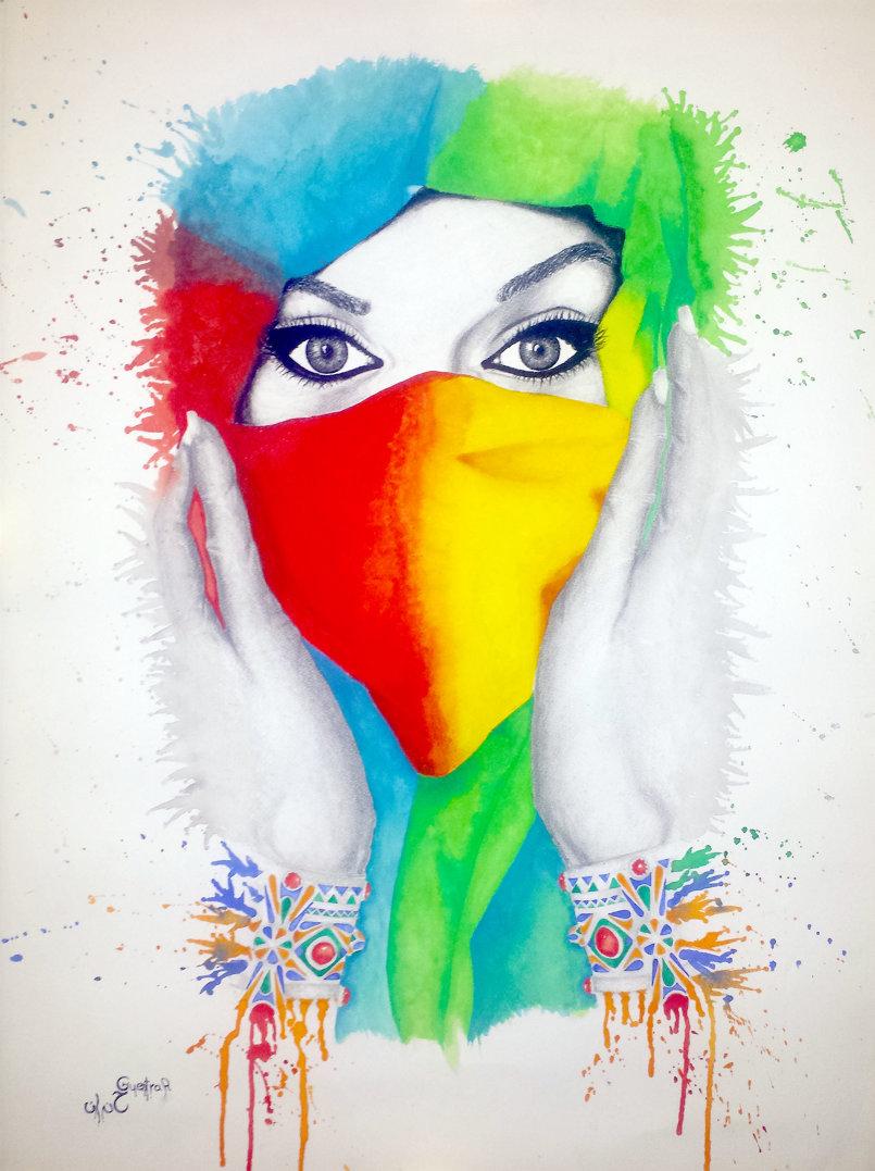 لوحة بعنوان المرأة الجزائرية