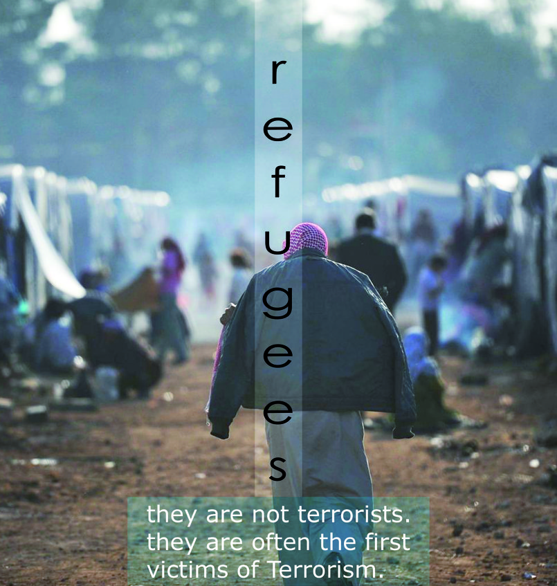 '' Refugees are not Terrorists '' , after the events that have taken place in some European cities , and that which they accused of refugees , I made a this design , which is a message to the World in which explained that the Refugees are an ordinary people had fled from the threat of Terrorism.