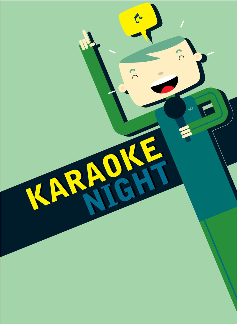 "This poster was created to promote a karaoke night to the employees at work. I tried to be as much ""Japanese"" as possible here since it's karaoke! 2008."