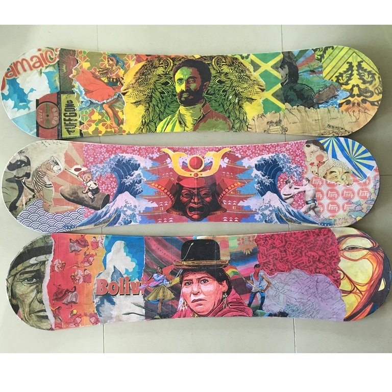 Sand Board custom design inspiration 1: Jamaican 2: Japan 3: Bolivia