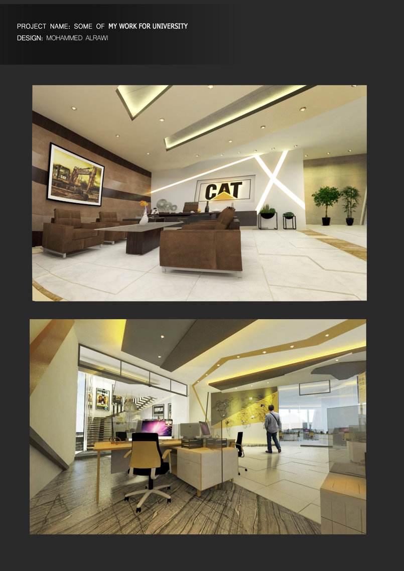 تصميم وحدات عمل مكتبية لشركة كاتربيلر + تصميم مكتب المفوض العام للشركة