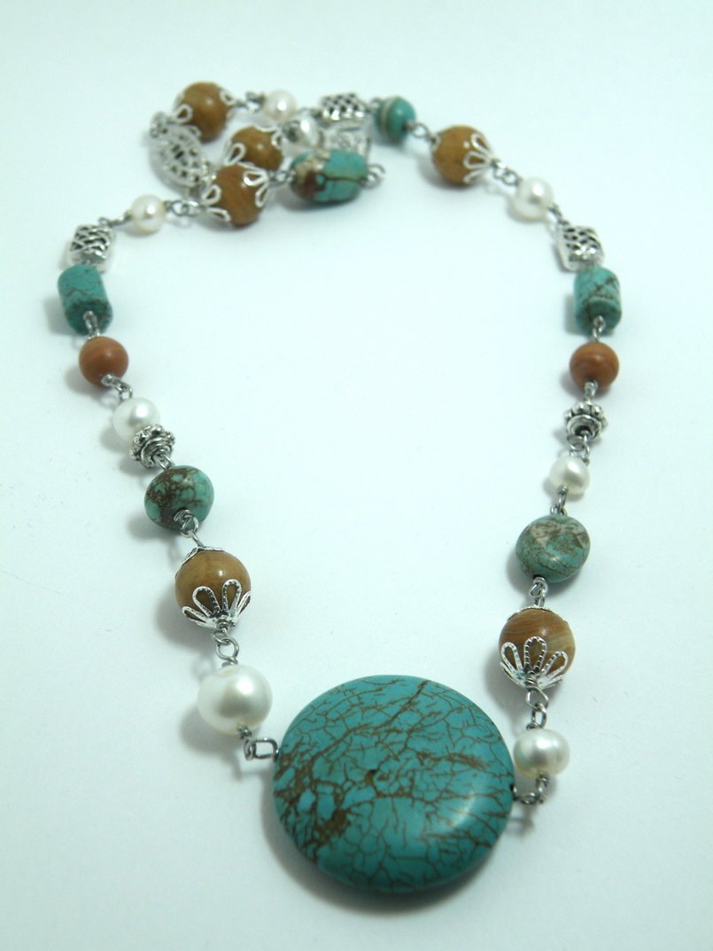 Turquoise, freshwater pearls, and brown gems necklace