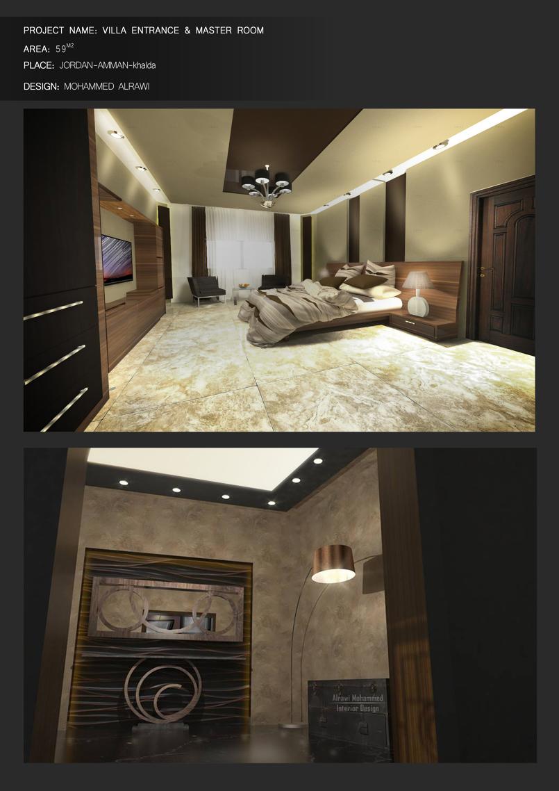 تصميم غرفة نوم بالاضافة الى مدخل الشقة ..