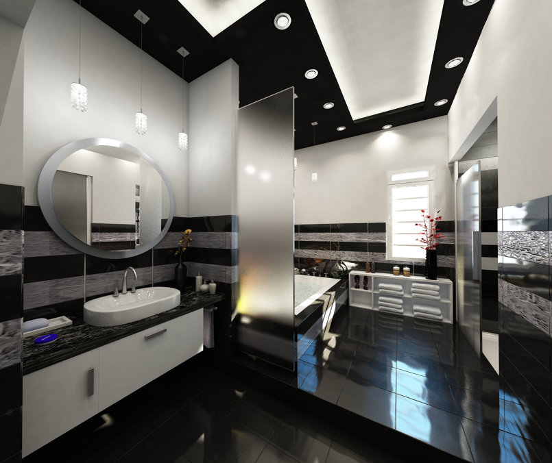 Black & white Bathroom Interior design - KSA