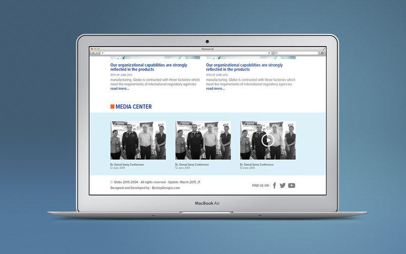 Globe Pharmaceuticals Egypt website redesign and development