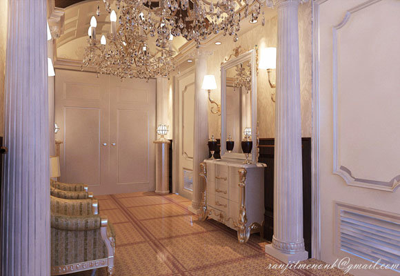 Hall way area for a villa, 3dsmax 2012, Vray 2