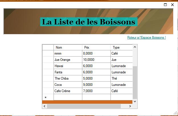 La liste de les Boissons