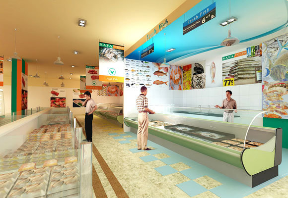 Supermarket meat and fish area, 3dsmax 2012, Vray 2