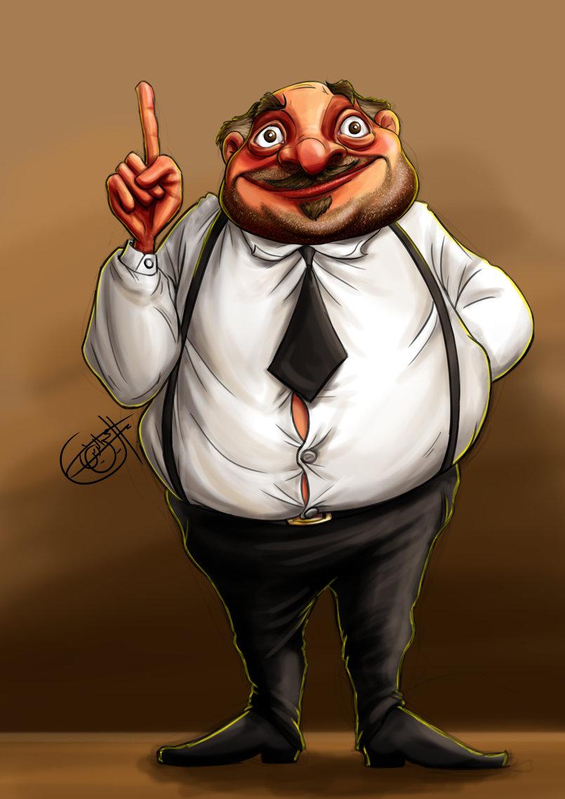 Digital drawing smart fat guy