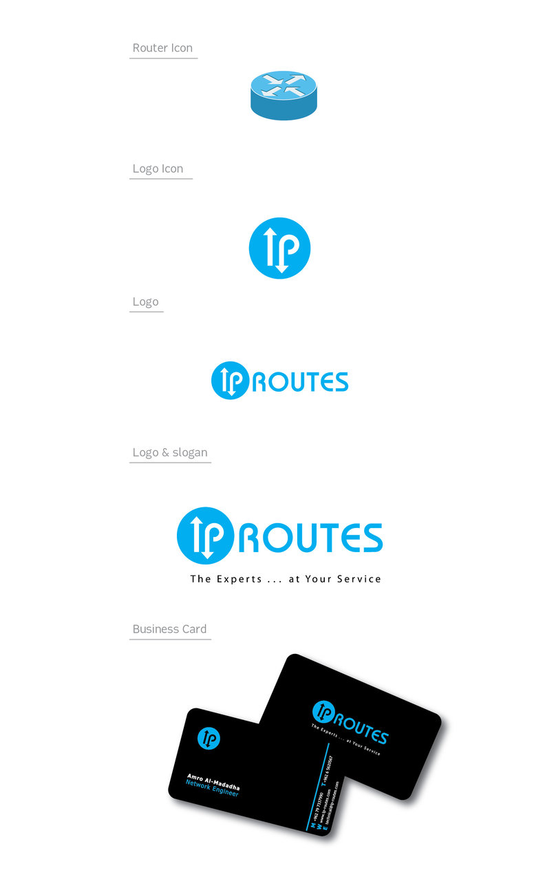 """2 - """"IP ROUTES"""" Designing a logo & business card for network company."""