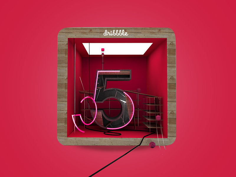 3D Icon for Dribbble 5 Years Birthday