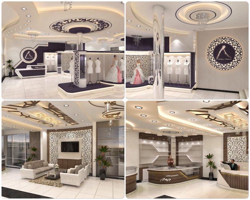 تصميم داخلي لأحد المعارض التجارية مديمة صنعاء