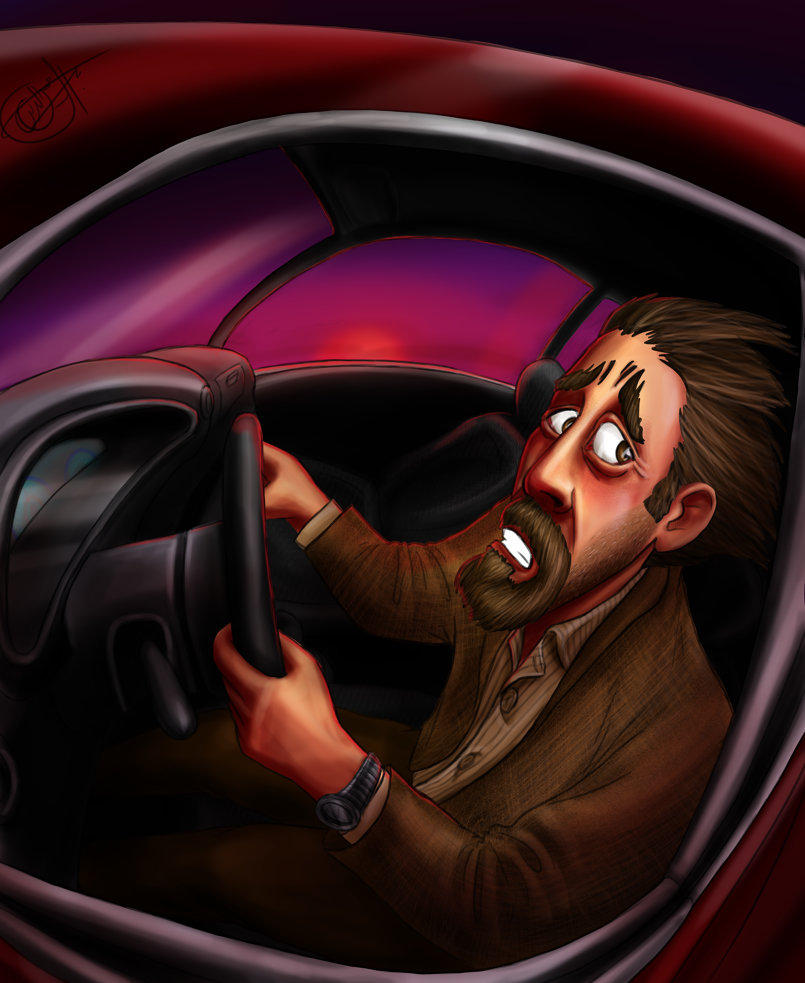 Drawing a scared driver