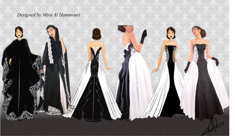 fairy tail gown designed on illustrator and colored on photoshop the gown made of black brokar . white tulle and white lace  the abaya made of black silk with white lace