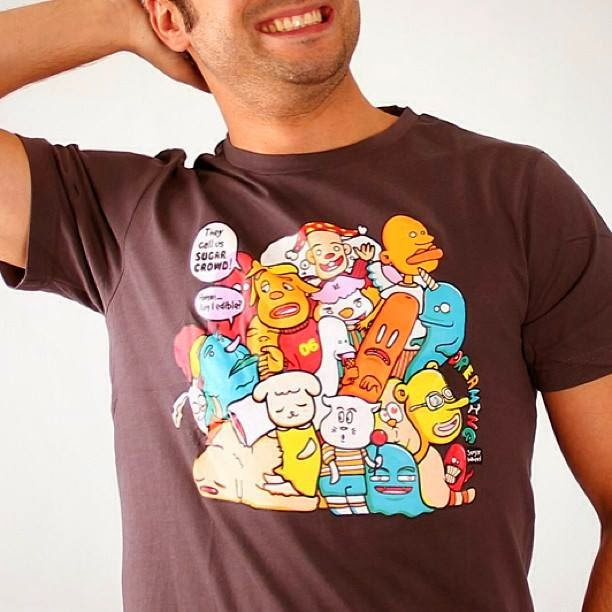 Sugar Wheel characters on a t-shirt sold by FNK.