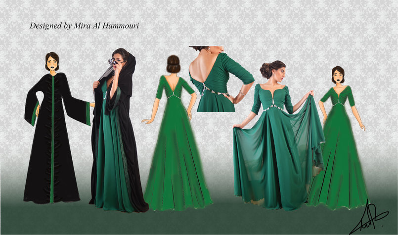 Green gown designed on illustrator and colored on photoshop the dress made from green chiffon and satin with swarovski beads the abaya made of black silk with green satin
