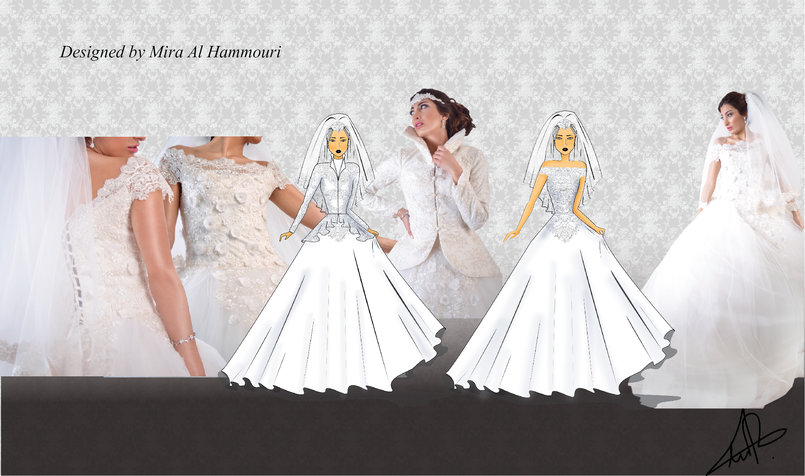 Wedding dress designed on illustrator and colored on photoshop the dress made of white satin and layers of tulle with beaded lace and hand made flowers the jacket made of satin beaded lace