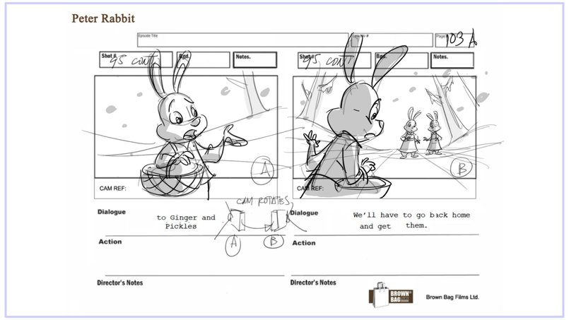 PETER RABBIT  Storyboard for 3D series,brown bag films, Ireland