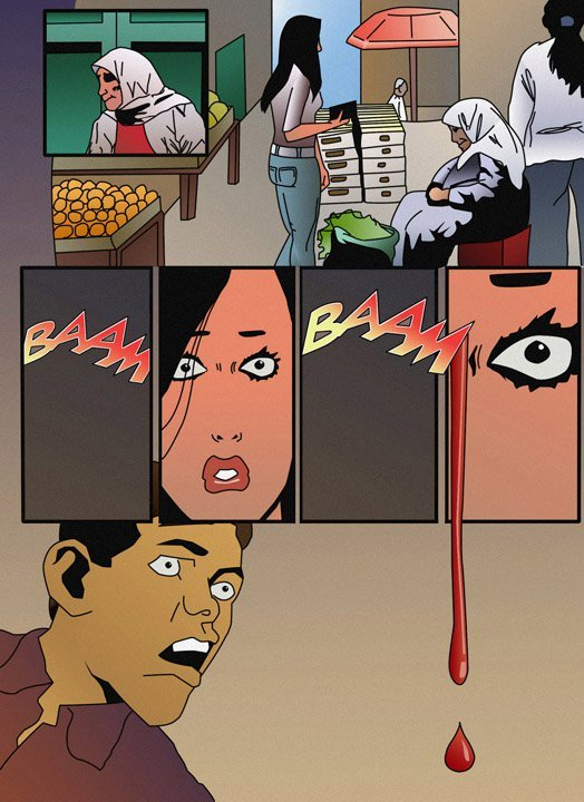 A panel from Salam Homoud's story demonstrating his visual flow and colors minus the text ...