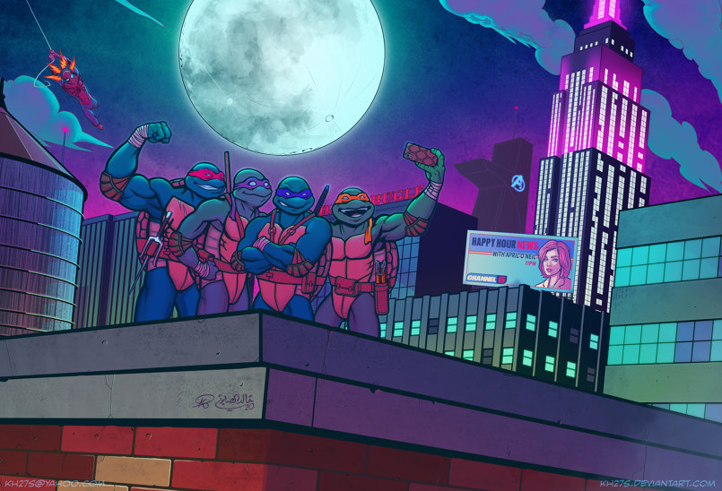 Get this print here: https://fineartamerica.com/featured/spider-man-meets-the-tmnt-khaled-alsabouni.html