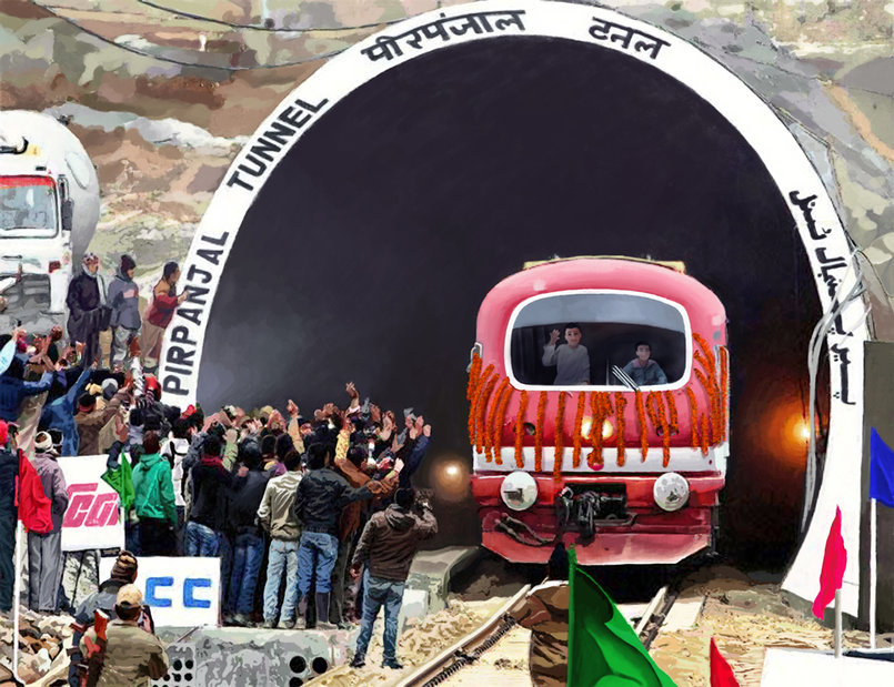 Water Color painting, Jammu & Kashmir Railway - The Tunnel.