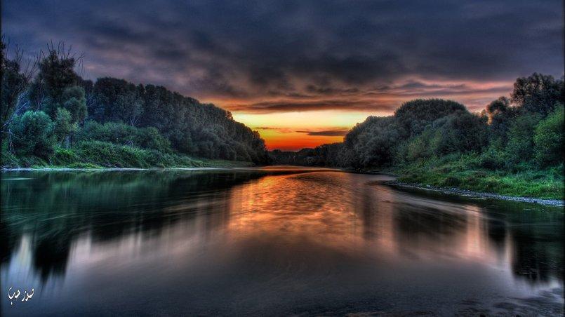 صورة لطبيعة عند غروب الشمس