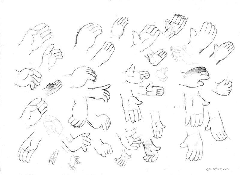 رسومات بقلم الحبر لشكل الأيدي