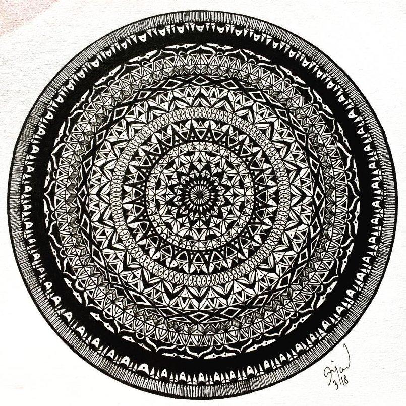 Mandala Drawing Black Ink