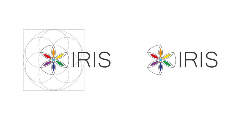 stage_1 of IRIS Corporate Identity. IRIS logo represents a 3D abstracted iris flower based on the Universal Symbol: The Sacred Flower of Life. Rainbow color spectrum used in reference to the ancient Greek meaning of the word iris that is rainbow.