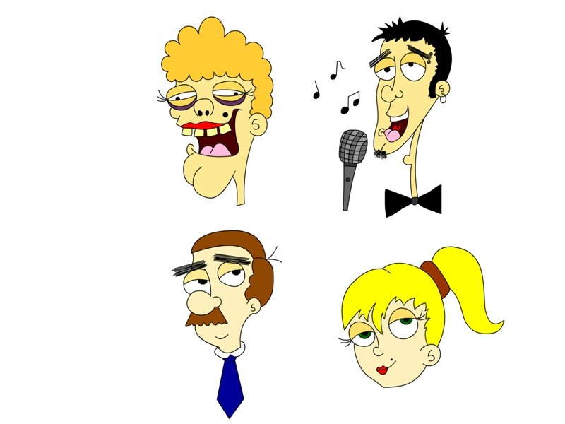 from top left to bottom right: my neighbour .. creepy:S  a singing douchebag.. without mentioning the name:P my school teacher.. didn't we all had a teacher that looked like him?:S weird! and finally my pretty blonde friend! :D