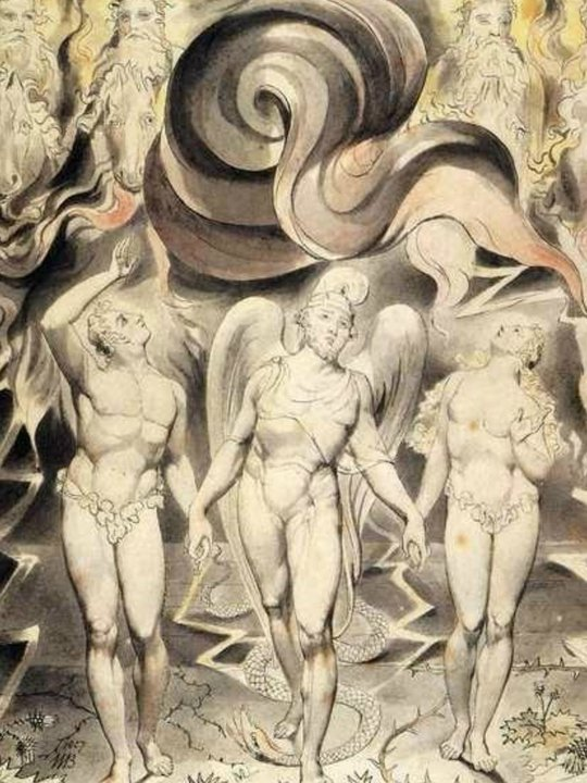 Another William Blake masterpiece.  This one is entitled: Expulsion from Paradise