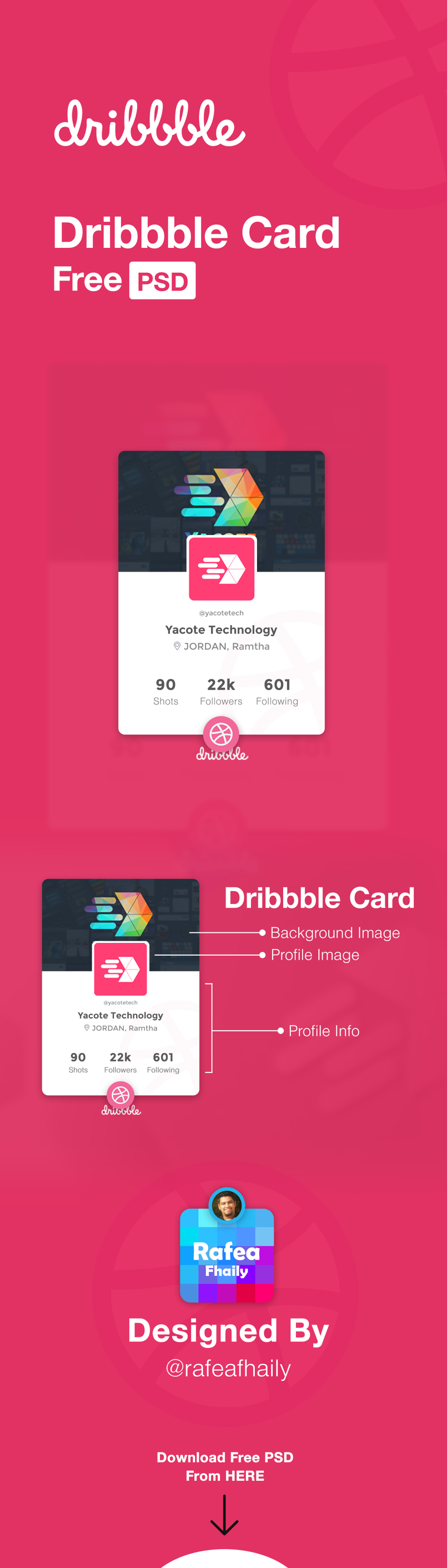 Dribbble Card Free PSD