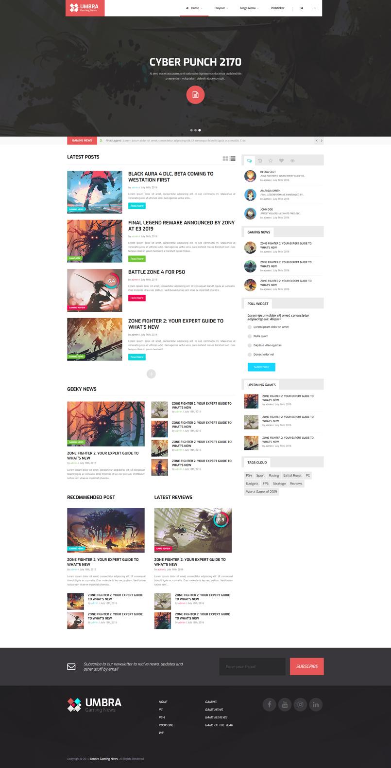 Umbra Gaming News Website