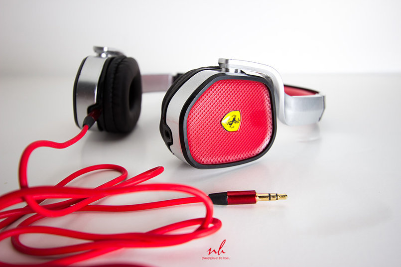 Ferrari Headphones Shot on White background