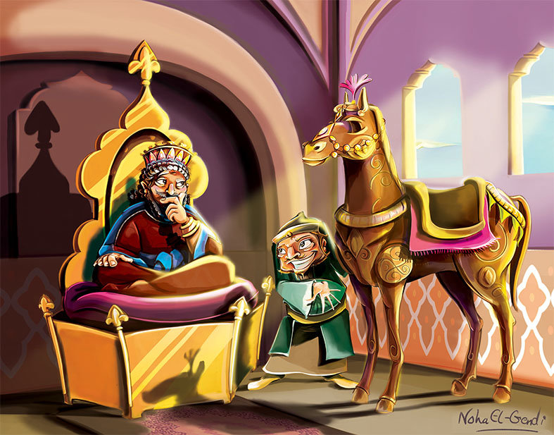 King Sabut looks carefully at the ugly wise man and his gift ( the Ebony Horse ) to the bride.. the third daughter.