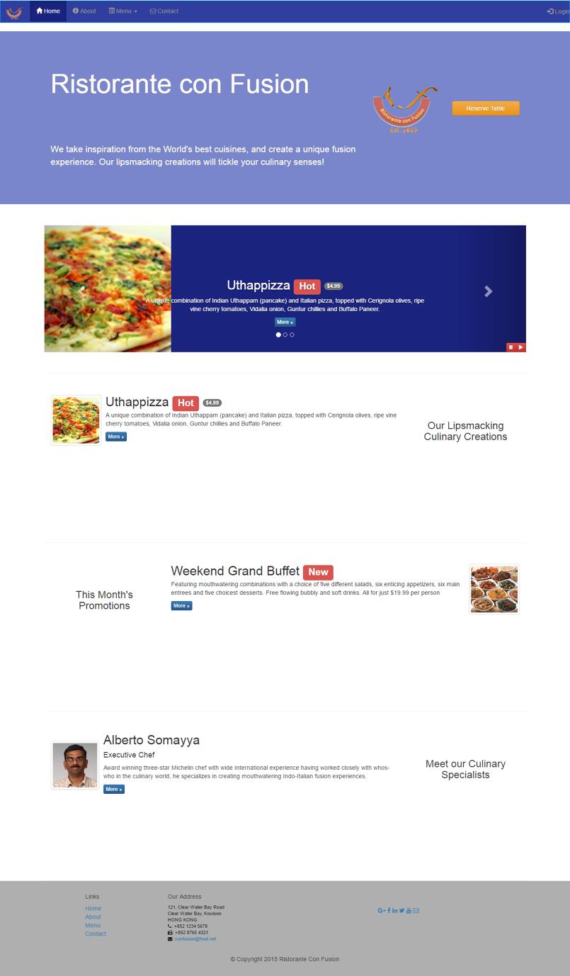 تصميم صفحة انترنت لمطعم باستخدام ال BootStrap