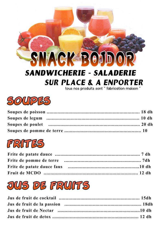 menu snack Récto verso