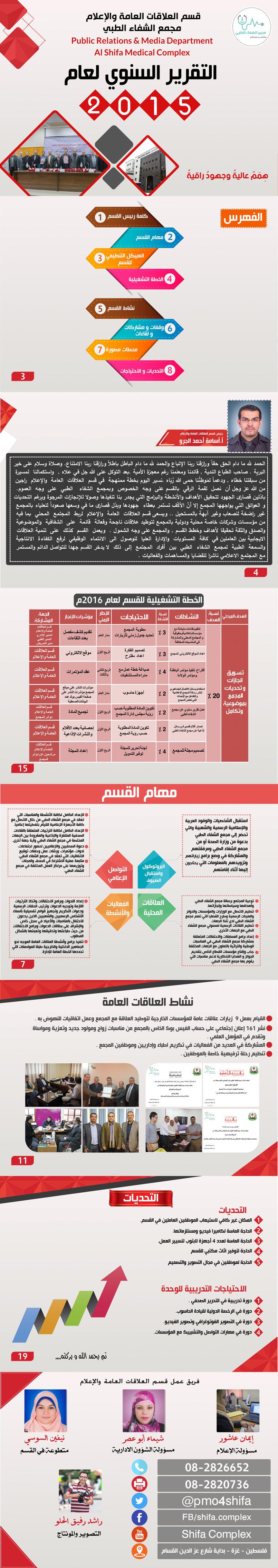 التقرير السنوي لقسم العلاقات العامة والاعلام