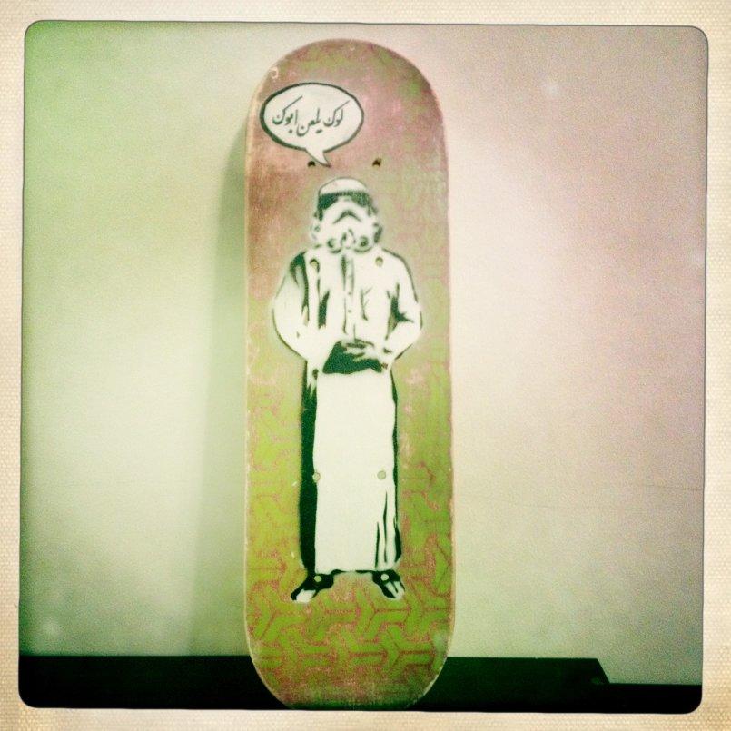 Storm Trooper reads: Luke damn your father - stencil on mini skateboard
